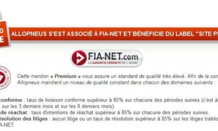 Avis clients: Allopneus labellisé site Premium sur Fia-Net