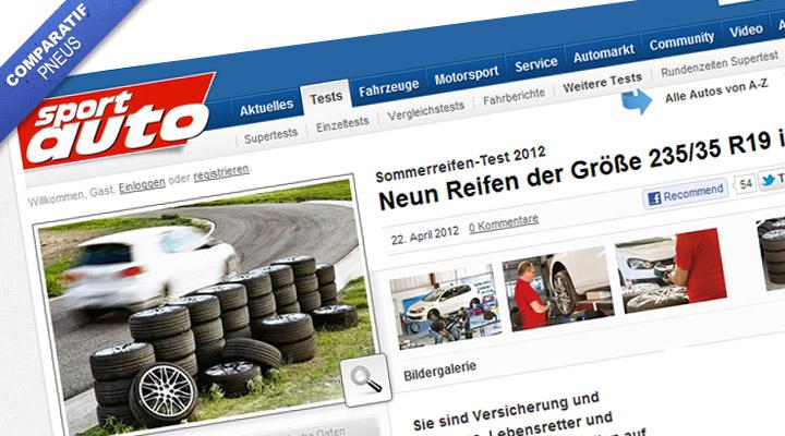 Comparatif pneu été 235-35-19 par Sportauto.de