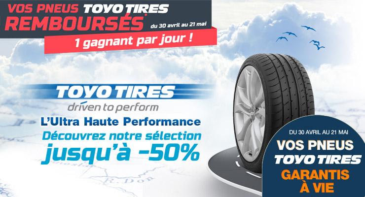 Une garantie à vie pour les pneus TOYO chez Allopneus.