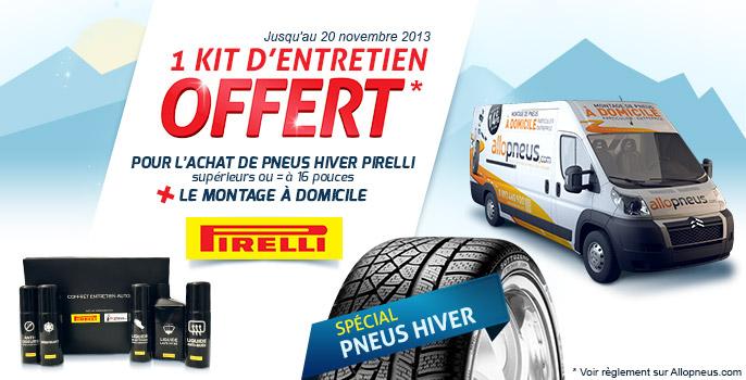 Coffret entretien auto OFFERT pour l'achat des pneus hiver Pirelli