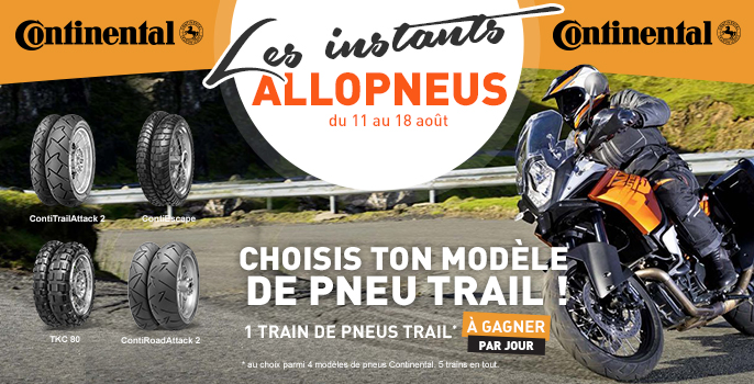 [JEU CONCOURS] Un train de pneus Continental trail à gagner par jour !
