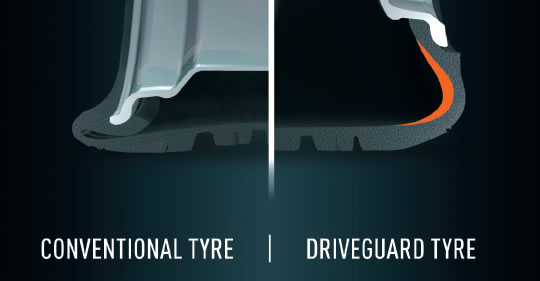driveguard-tyre vs conventionnel
